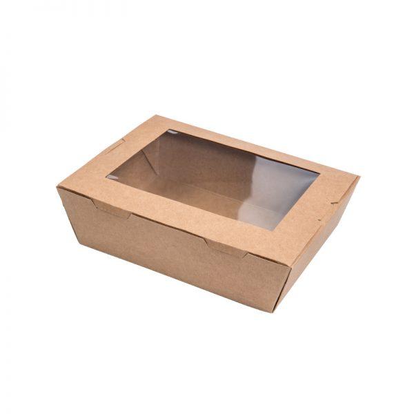 Paper Lunch Box w Window - Kraft .L