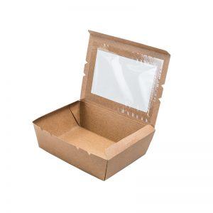 Paper Lunch Box w Window - Kraft (L)
